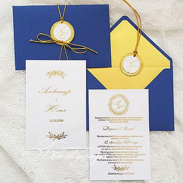 Свадебный салон ручной работы. Ярмарка Мастеров - ручная работа Синий и золото-приглашения в конверте. Handmade.