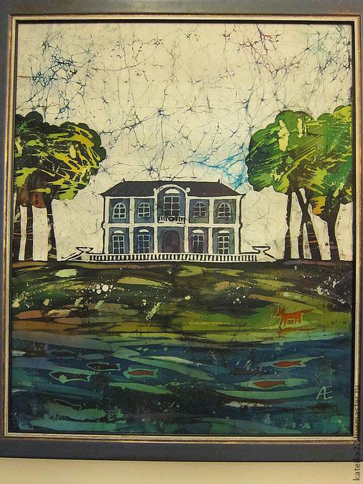 """Пейзаж ручной работы. Ярмарка Мастеров - ручная работа. Купить """"Домик на озере"""" картина-батик. Handmade. Пейзаж, панно в подарок"""