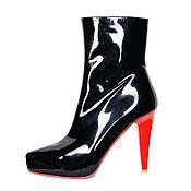 Винтаж handmade. Livemaster - original item Boots made of natural patent leather black. Handmade.
