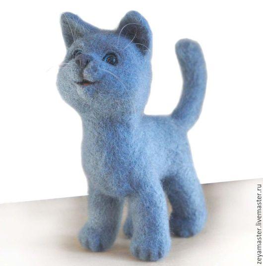 Игрушки животные, ручной работы. Ярмарка Мастеров - ручная работа. Купить Кот, почти голубой британец, игрушка из шерсти. Handmade.