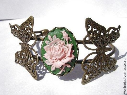 """Браслеты ручной работы. Ярмарка Мастеров - ручная работа. Купить Браслет с камеей """"Роза"""". Handmade. Зеленый, браслеты, браслет с камеей"""