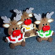 Мягкие игрушки ручной работы. Ярмарка Мастеров - ручная работа Новогодний оленёнок. Олень вязаный. Handmade.