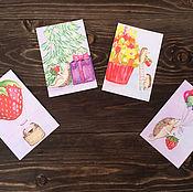 Открытки ручной работы. Ярмарка Мастеров - ручная работа Набор акварельных открыток Фруктовые ёжики. Handmade.