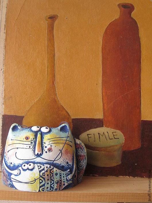"""Статуэтки ручной работы. Ярмарка Мастеров - ручная работа. Купить Колокольчик """"Кот добрый"""". Handmade. Колокольчик керамический"""