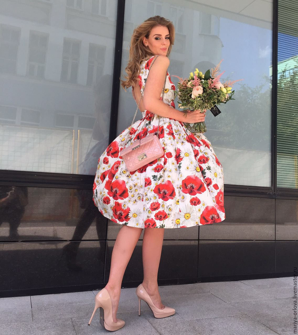 Платье с маками дольче габбана