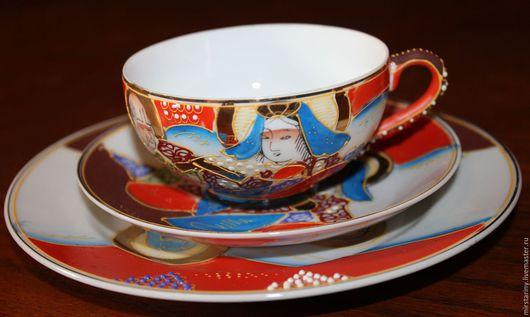 Винтажная посуда. Ярмарка Мастеров - ручная работа. Купить Старинная чайная тройка, литофания, ручная роспись, Satsuma, Япония. Handmade.