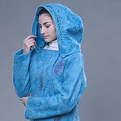"""Одежда ручной работы. Ярмарка Мастеров - ручная работа Валяная куртка с капюшоном """"Лазурь"""". Handmade."""