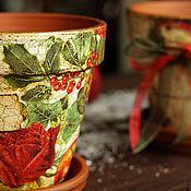 """Для дома и интерьера ручной работы. Ярмарка Мастеров - ручная работа горшки для цветов """"Счастливого Нового года"""". Handmade."""