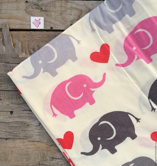 Шитье ручной работы. Ярмарка Мастеров - ручная работа. Купить ткань хлопок/слоны. Handmade. Хлопок, хлопок ткань, хлопок 100%