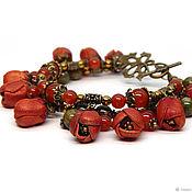 Украшения handmade. Livemaster - original item Bracelet with flowers. bracelet made of natural stones. bracelet made of Jasper. Handmade.
