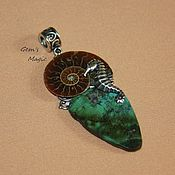 Украшения handmade. Livemaster - original item Pendant with Ammonite and turquoise