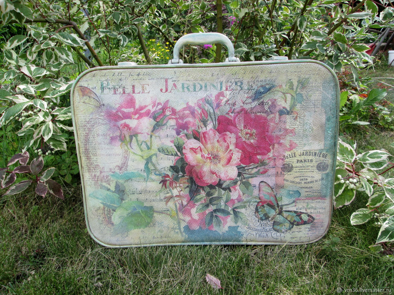 "Baskets & Boxes handmade. Livemaster - handmade. Buy Чемодан ""Belle jardiniere"".Home decor, decor suitcase"