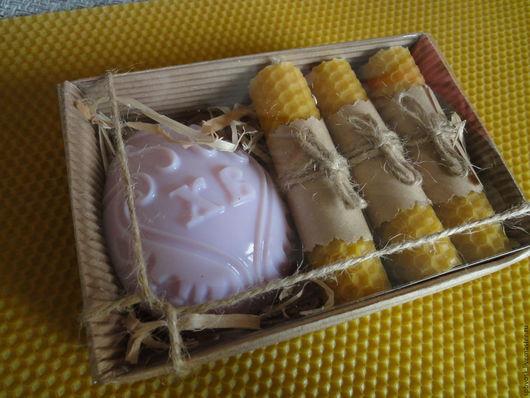 Подарки на Пасху ручной работы. Ярмарка Мастеров - ручная работа. Купить Пасхальный набор (мыло+свечи). Handmade. Золотой, Свечи из вощины