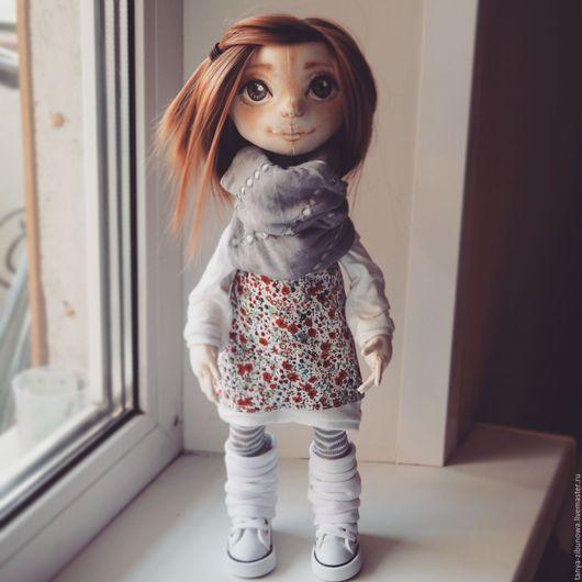 Коллекционные куклы ручной работы. Ярмарка Мастеров - ручная работа. Купить Текстильная кукла Уна. Handmade. Серый, сатин, мохер