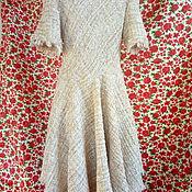 Платья ручной работы. Ярмарка Мастеров - ручная работа Золотистое твидовое платье в стиле шанель 2020, золотое платье твид. Handmade.