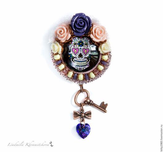 Броши ручной работы. Ярмарка Мастеров - ручная работа. Купить Брошь Череп радужный(брошь череп, романтика,веселое настроение,розовый. Handmade.