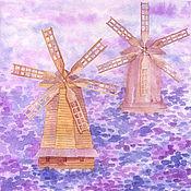 """Картины и панно ручной работы. Ярмарка Мастеров - ручная работа Акварель """"Ветряные мельницы"""" Акварельная картина 21/21 см. Handmade."""