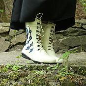 """Обувь ручной работы. Ярмарка Мастеров - ручная работа Валяные ботинки """"Гжель"""". Handmade."""