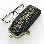 Сумки и аксессуары handmade. Livemaster - original item Beaded glasses case with clasp Starry sky Golden. Handmade.