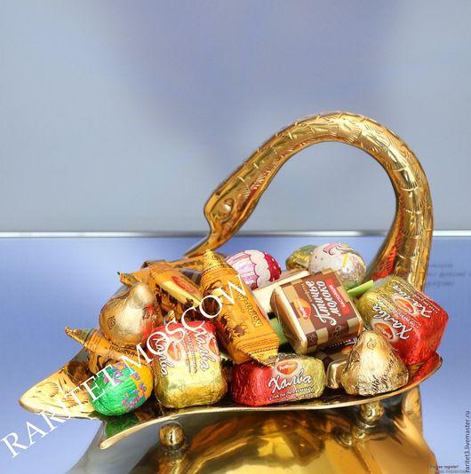 Винтажная посуда. Ярмарка Мастеров - ручная работа. Купить Ваза конфетница птица лебедь латунь Англия 84. Handmade. Золотой