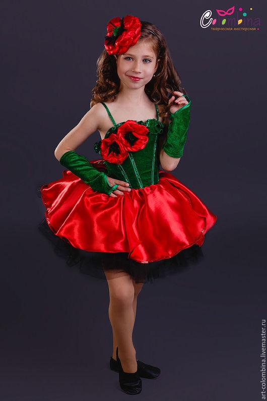 Детские карнавальные костюмы ручной работы. Ярмарка Мастеров - ручная работа. Купить Костюм мака. Handmade. Ярко-красный