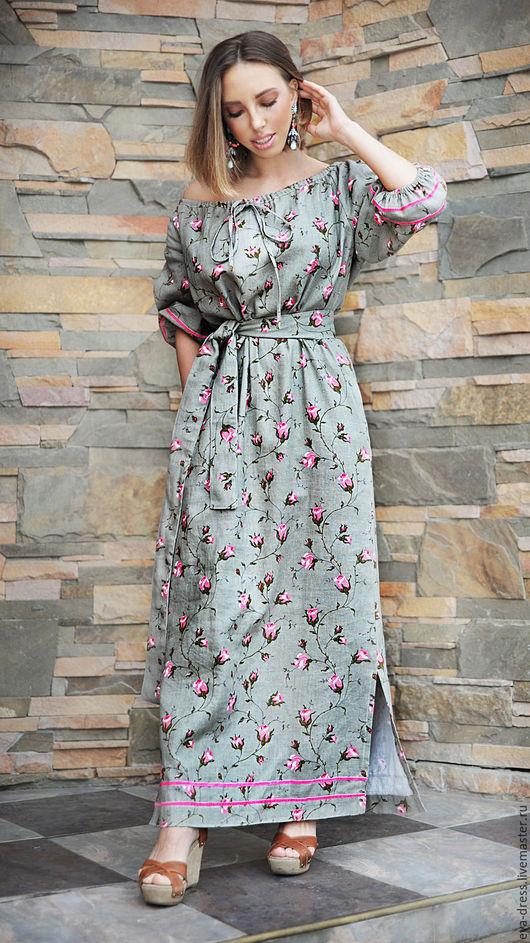 """Платья ручной работы. Ярмарка Мастеров - ручная работа. Купить Платье летнее длинное из хлопка с цветочным принтом """"Нежные розы"""". Handmade."""