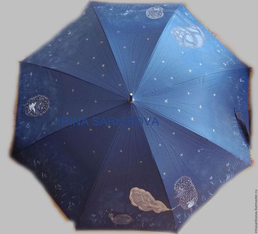 Зонты ручной работы. Ярмарка Мастеров - ручная работа. Купить Зонт с ручной росписью. Handmade. Тёмно-синий, зонт-трость
