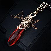Украшения handmade. Livemaster - original item Pendant with quartz stone, fiery red