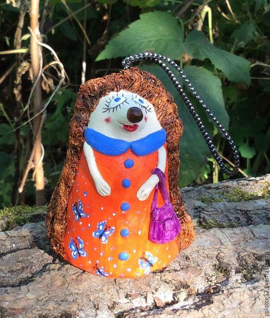 Колокольчики ручной работы. Ярмарка Мастеров - ручная работа. Купить Колокольчик Ежиха керамика. Handmade. Разноцветный, еж