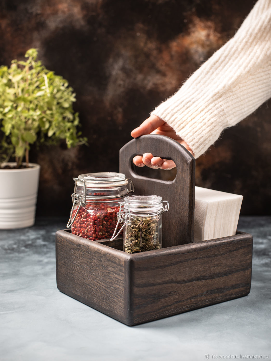 Stand for spices and napkins 125 mm made of dark oak (understated), Napkin holders, Moscow,  Фото №1