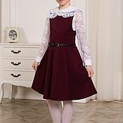 Платья ручной работы. Ярмарка Мастеров - ручная работа Школьный сарафан для девочки цвет Бордо. Handmade.