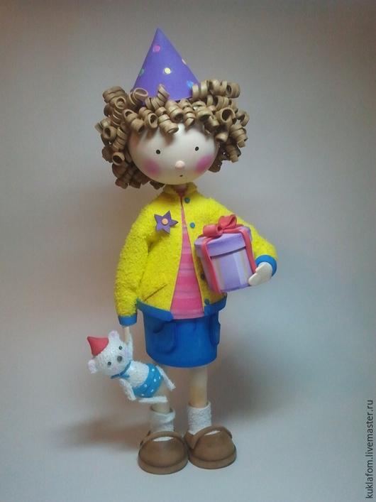 Коллекционные куклы ручной работы. Ярмарка Мастеров - ручная работа. Купить С днём рождения! Куколка из фоамирана.. Handmade. Желтый