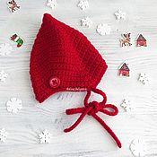 Работы для детей, handmade. Livemaster - original item hat for newborn baby boy crocheted red baby, 0-1 months. Handmade.