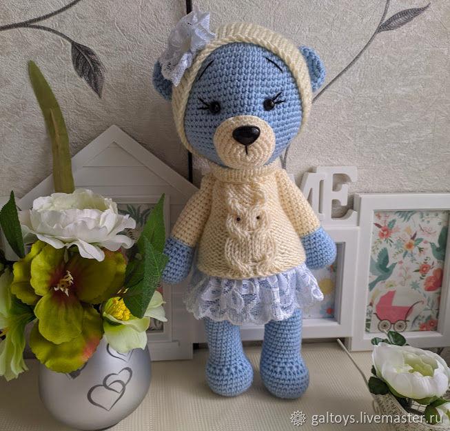 голубой мишка в белом свитере, Мягкие игрушки, Москва,  Фото №1