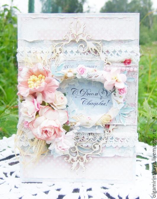Свадебные открытки ручной работы. Ярмарка Мастеров - ручная работа. Купить Свадебная открытка. Handmade. Бледно-розовый, подарок молодоженом