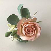 Свадебный салон handmade. Livemaster - original item Hair clip with rose and Wallflowers.. Handmade.