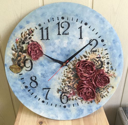 Часы для дома ручной работы. Ярмарка Мастеров - ручная работа. Купить Часы с объемными розами. Handmade. Подарок, часы интерьерные