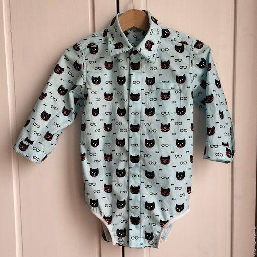 Блузки ручной работы. Ярмарка Мастеров - ручная работа. Купить Рубашка-боди. Handmade. Голубой, рубашка для мальчика, 100% хлопок