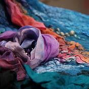 Аксессуары ручной работы. Ярмарка Мастеров - ручная работа Валяный шарф  Радуга в декабре  валяный палантин. Handmade.