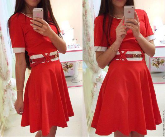 Платья ручной работы. Ярмарка Мастеров - ручная работа. Купить Красное лаконичное платье. Handmade. Ярко-красный, платье