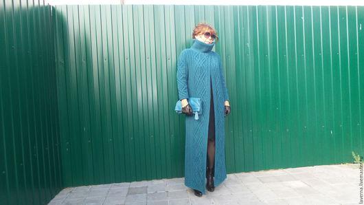 Верхняя одежда ручной работы. Ярмарка Мастеров - ручная работа. Купить пальто-кардиган вязаное для примера. Handmade. Синий, ангора