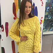 Одежда handmade. Livemaster - original item Yellow women`s sweater (lemon). Handmade.