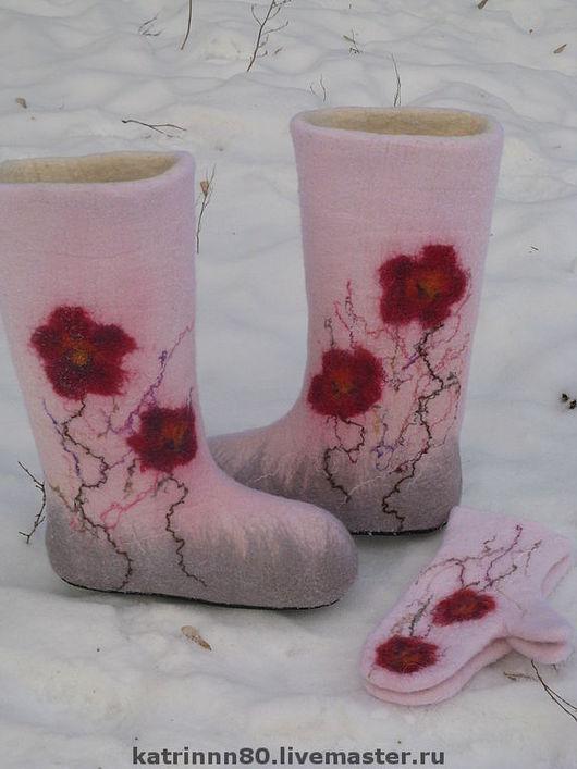"""Обувь ручной работы. Ярмарка Мастеров - ручная работа. Купить Валенки """"Летняя пора"""". Handmade. Бледно-розовый, шерть"""