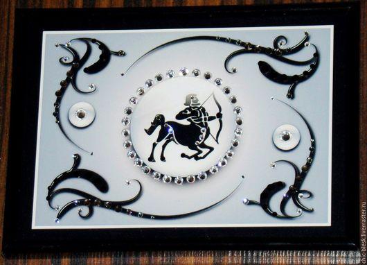 """Подарки по знакам Зодиака ручной работы. Ярмарка Мастеров - ручная работа. Купить картина """"Знак зодиака Стрелец"""" со стразами SWAROVSKI. Handmade."""