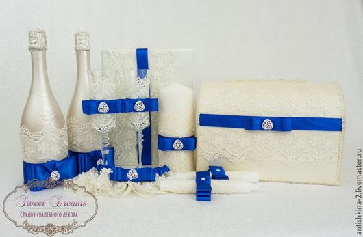 """Свадебные аксессуары ручной работы. Ярмарка Мастеров - ручная работа. Купить Коллекция свадебных аксессуаров """"Алисия"""" с синей лентой. Handmade."""