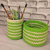 Для дома и интерьера ручной работы. Ярмарка Мастеров - ручная работа Зеленые корзинки, набор. Handmade.