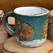 Посуда ручной работы. Ярмарка Мастеров - ручная работа Чашка керамическая Павлины. Handmade.