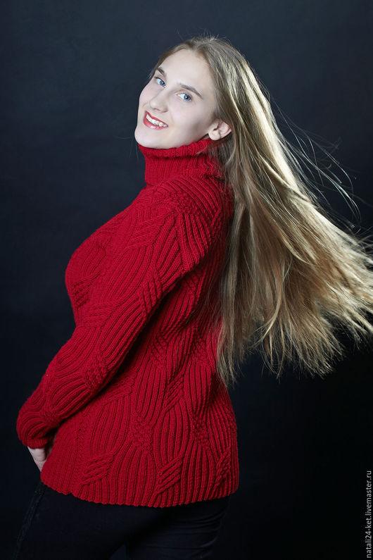 """Кофты и свитера ручной работы. Ярмарка Мастеров - ручная работа. Купить Водолазка"""" зимнее настроение"""". Handmade. Бордовый, женский, кашемир"""