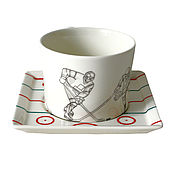 """Чайные пары ручной работы. Ярмарка Мастеров - ручная работа Подарок мужчине - чайная пара """"Хоккеисты"""". Handmade."""