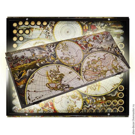 Настольные игры ручной работы. Ярмарка Мастеров - ручная работа. Купить Эксклюзивные нарды ATLAS OF THE WORLD (серия S). Handmade.